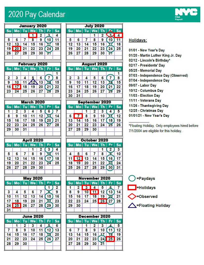 NYC DoE Payroll Calendar 2020 | Payroll Calendar