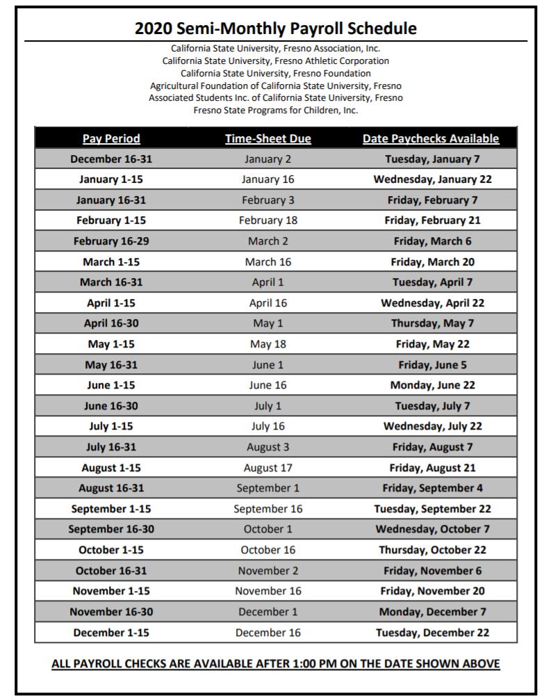 Fresno State Payroll Calendar 2021   Payroll Calendar