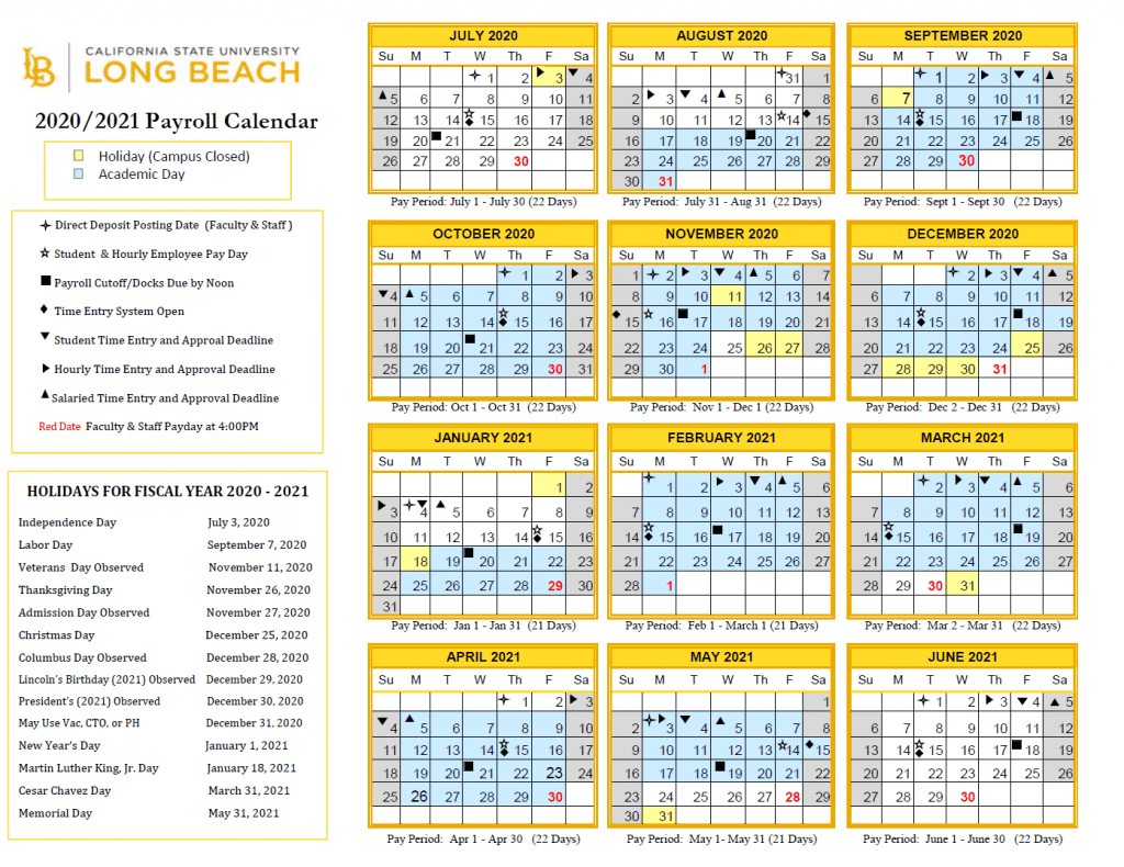 Csulb Calendar 2021 CSULB Payroll Calendar 2021 | Payroll Calendar