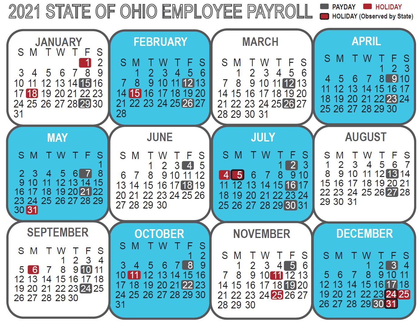 Ohio State Calendar 2021 Ohio State Payroll Calendar 2021 | Payroll Calendar