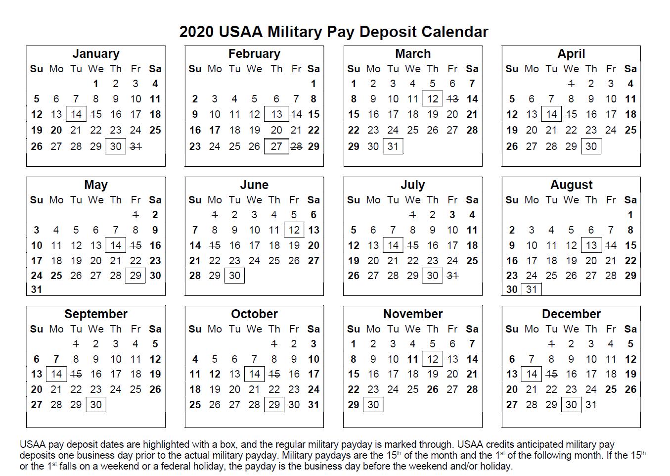 USAA Payroll Calendar 20   Payroll Calendar