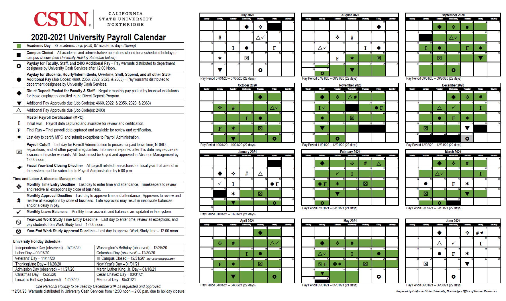California State University (CSUN) Northridge Payroll Calendar