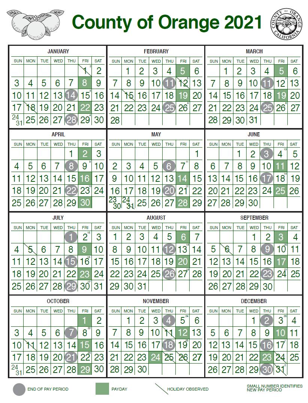 Images of Orange County 2021 Calendar