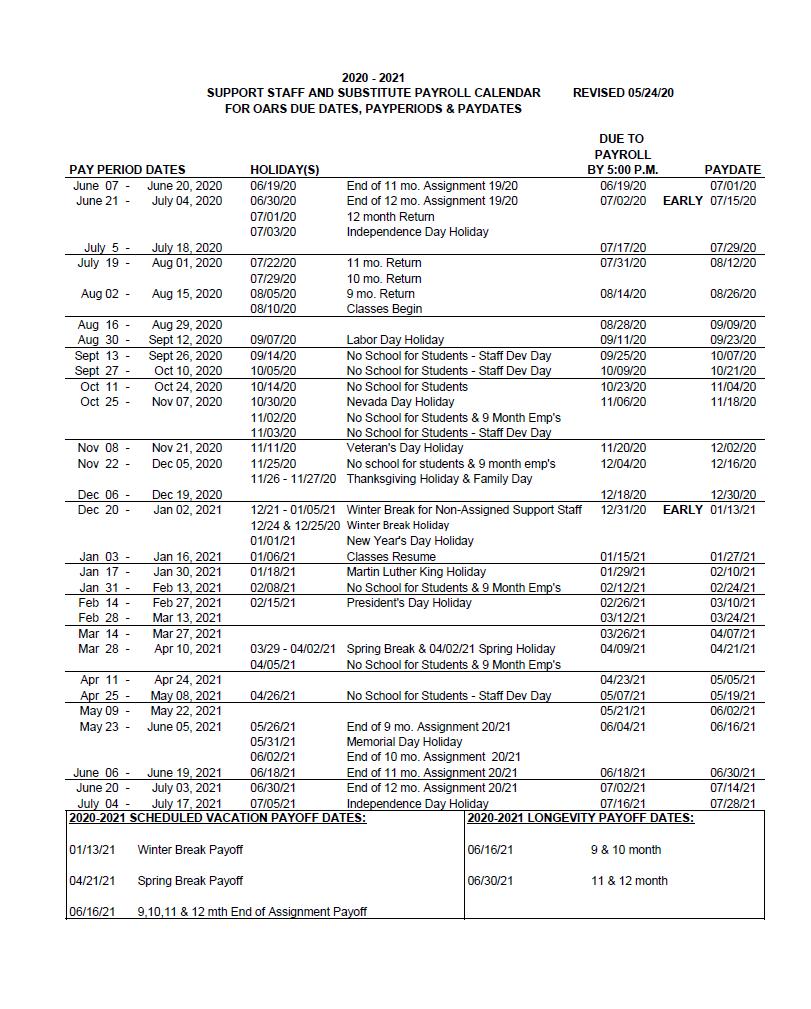 Ccsd 2022 Calendar.Ccsd Payroll Calendar 2021 Payroll Calendar