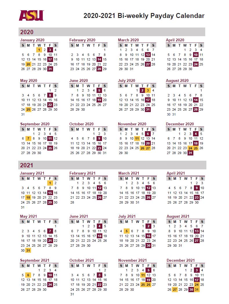 Arizona State University (ASU) Payroll Calendar 2021 | Payroll